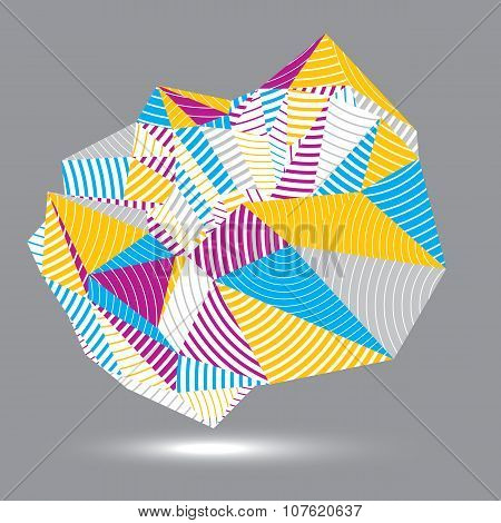 Geometric Abstract 3D Complicated Striped Vector Object, Colorful Asymmetric Three-dimensional