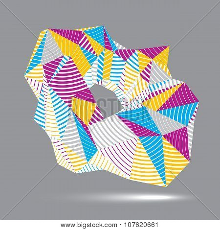 3D Vector Abstract Technology Illustration, Geometric Unusual Stripy Object. Origami
