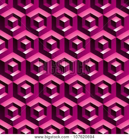Colorful Illusive Abstract Geometric Seamless Pattern With 3D Cubes. Vector Stylized Texture, purple
