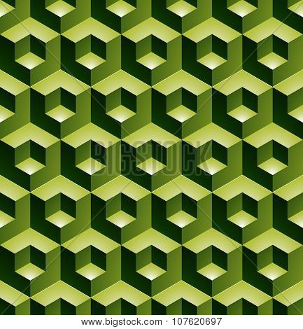 Geometric Seamless Pattern, Endless green Vector Regular Background. Abstract Covering, 3D Cubes