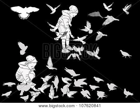 illustration with girls and large group of doves isolated on black background