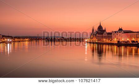 Beautiful sunrise on Danube river in Budapest, Hungary