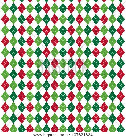 Seamless Christmas Abstract Pattern With Rhombus Isolated On Whi