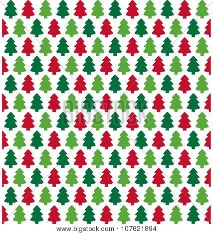 Seamless Christmas Pattern With Evergreen Trees Isolated On Whit