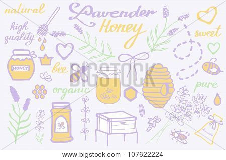 Lavender honey set. Hand-drawn cartoon collection - flowers, jars, calligraphy, floral elements. Doo