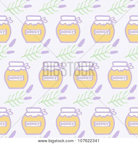 Honey jar. Hand-drawn seamless cartoon pattern with lavender honey jars. Vector illustration.