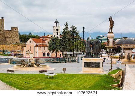 Church, statues and street view in downtown of Skopje, Macedonia