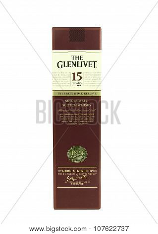 Bottle Of 15 Year Glenlivet Scotch Whisky In The Box