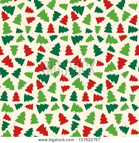 Seamless Christmas Pattern With Evergreen Trees Isolated On Beig