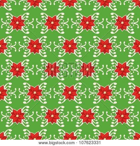 Seamless Christmas Pattern With Poinsettia Ornament Isolated On