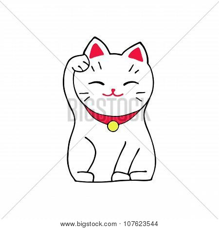 Maneki-neko cat. Sitting hand drawn lucky white cat. Japanese culture. Doodle drawing