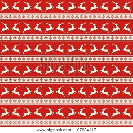 Seamless Christmas Traditional Pattern With Deers And Snowflakes