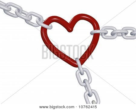 Valentine 3D Heart Three Love Chain Links Pull