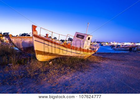 Fishing boat at the coast of Zakynthos at night, Greece