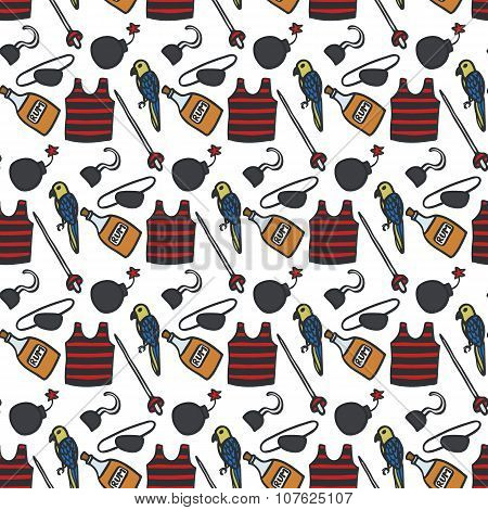Pirate pattern. Seamless pattern with hand drawn pirate clothing and atributes. Doodle drawing