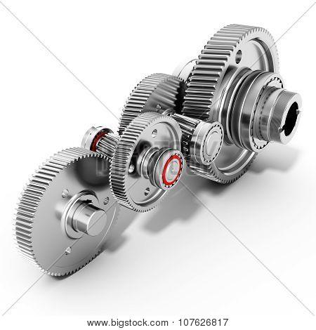 3D Detailed Metallic Gears
