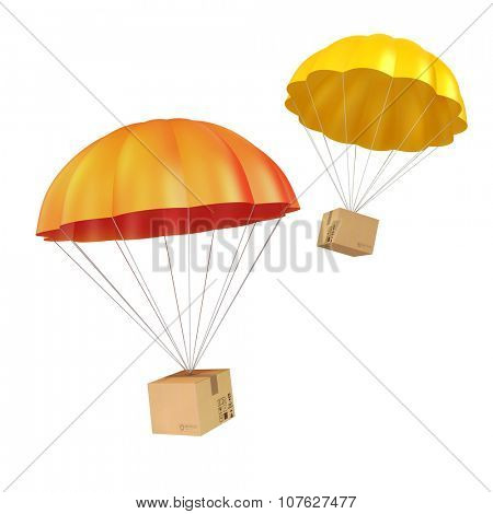 3d colorful parachute and present box
