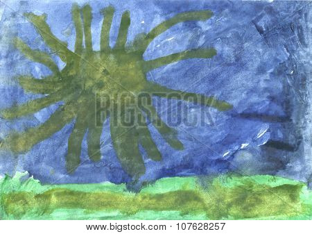 Childrens Drawing - Octopus In The Ocean