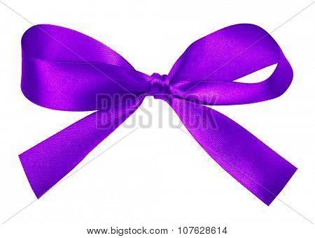 Shiny purple satin ribbon on white background