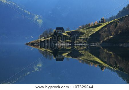 Autumn Scene At Lake Wagital, Switzerland