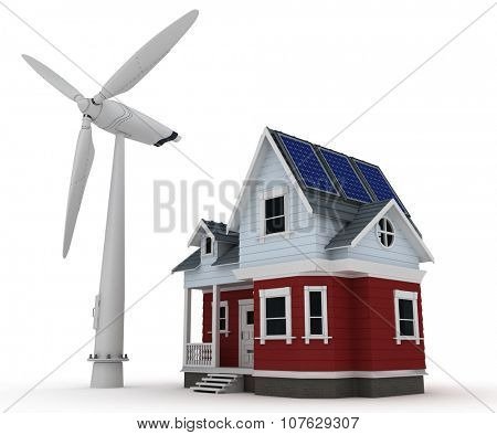 3d render of Solar panels on a house with wind turbine