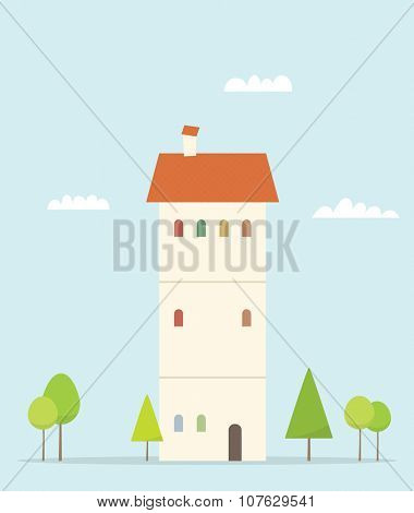Cartoon house. Simple flat image