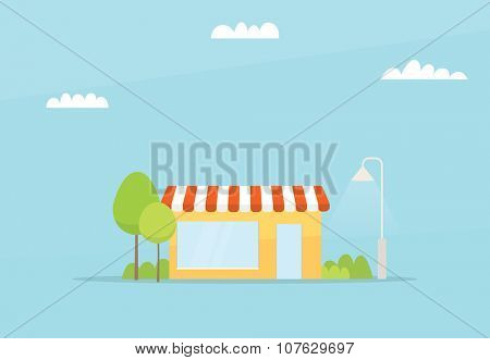 Cartoon small store. flat simple design