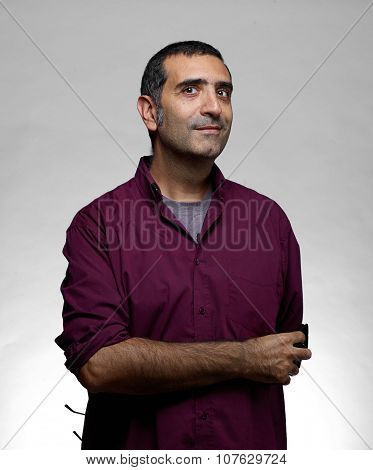Man In Purple Shirt