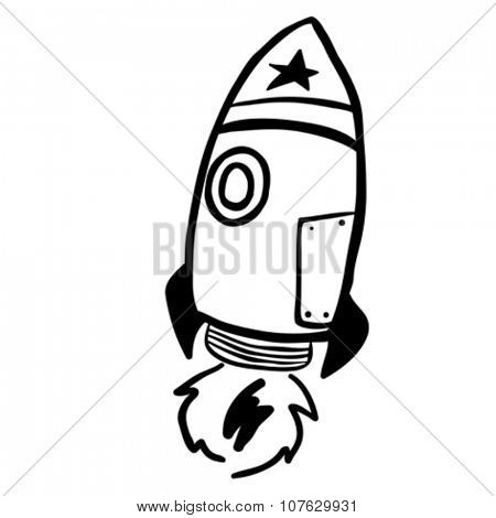 simple black and white rocket cartoon