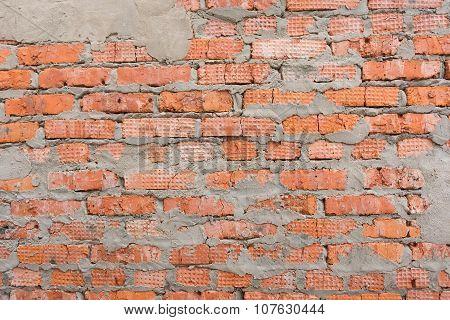 Red Brick Wall A Careless Bricklaying