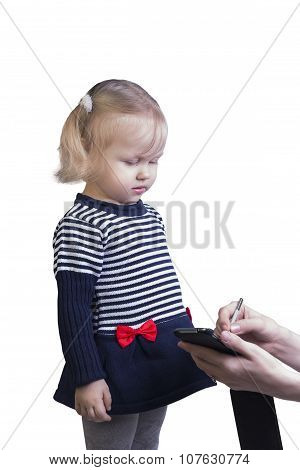 Woman Teaching Little Girl The Blonde On A Smartphone Stylus To