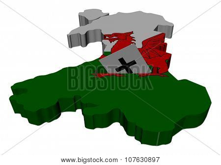 Wales election map with ballot paper illustration