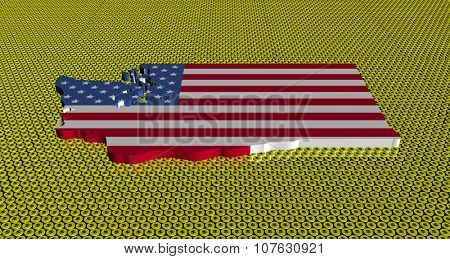 Washington map flag on golden dollars coins illustration