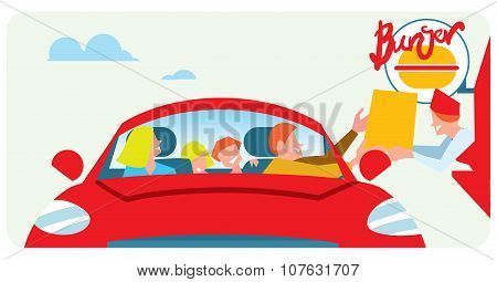 Family fast food orders from the car window. Window issuance of fast food meals. Vector fastfood. Takeaway food. Fast food Takeaway. Burger cafe with takeaway service. Takeaway in car