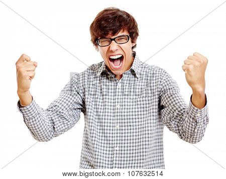 Young hispanic man wearing blue checkered shirt and black glasses screaming and celebrating win with raised fists isolated on white background - success concept