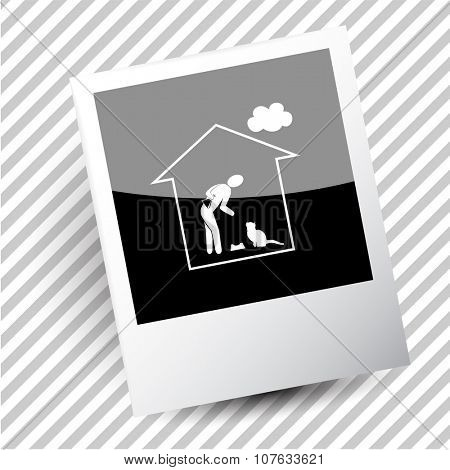 home cat. Photoframe. Vector icon.