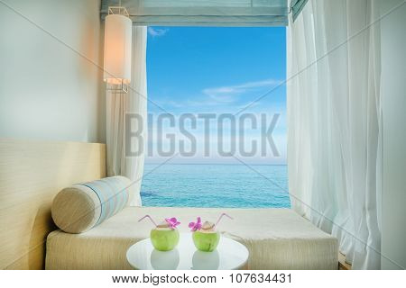 Beautiful tropical sea view at window in resort Phuket Thailand