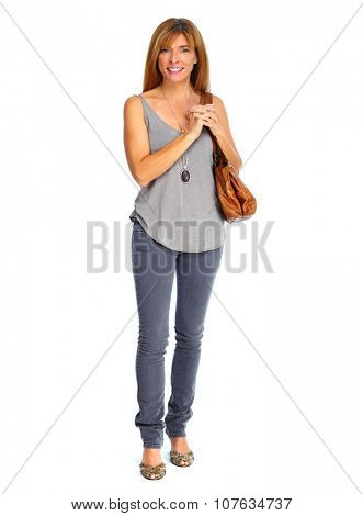 Shopping woman with bag  isolated over white background.