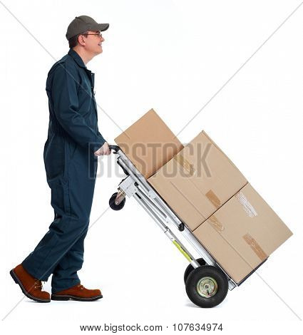 Delivery man with boxes. Express post shipping.