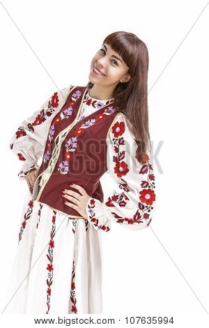 Happy Smiling Brunette Woman Posing In Unique Hand-made Flowery National Costume Dress