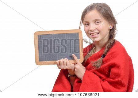 happy school girl with a traditionnal slate in his hands