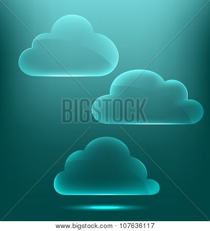 Glassy Infographic Clouds Icons On Cyan