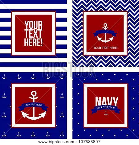 Set Of Seamless Pattern On The Marine Theme