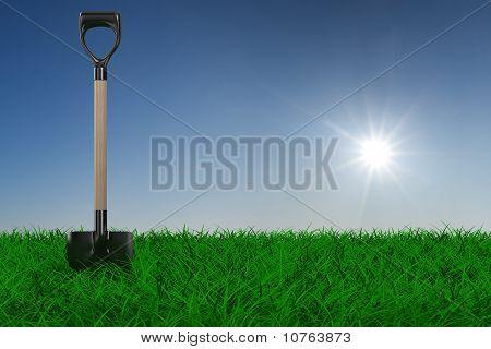 Schaufel auf Gras. Garten Tool. 3D-Bild