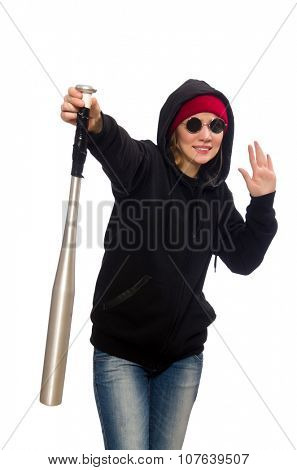 Woman hooligan isolated on the white