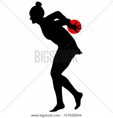 Silhouette Girl  Gymnast With The Ball. Vector Illustration