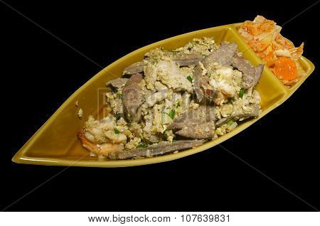 Mixed meat steak with Kimchi in boat shape platter