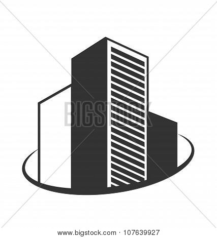 Emblem With Buildings Isolated On White