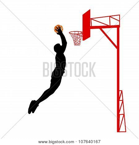 Black Silhouettes Of Men Playing Basketball On A White Backgroun
