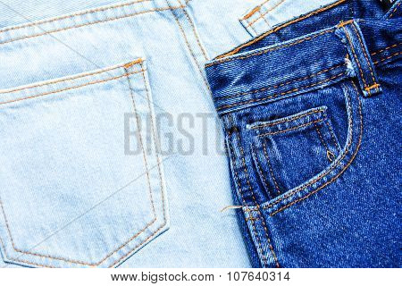 Blue jean shorts with a white background